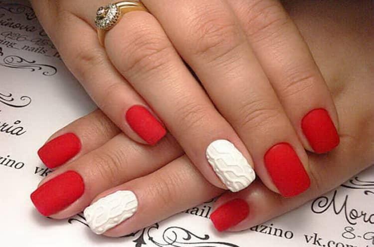 Как сделать дизайн ногтей красный с белым, фото