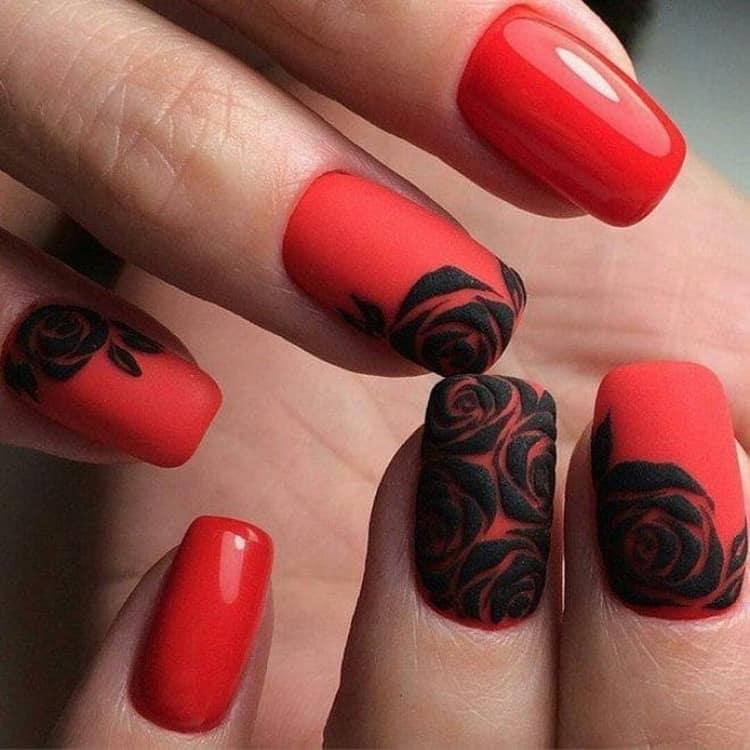 Как сделать дизайн ногтей красный с золотом, фото