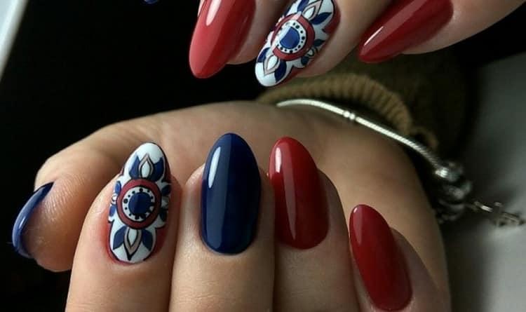 Как сделать красные острые ногти, дизайн