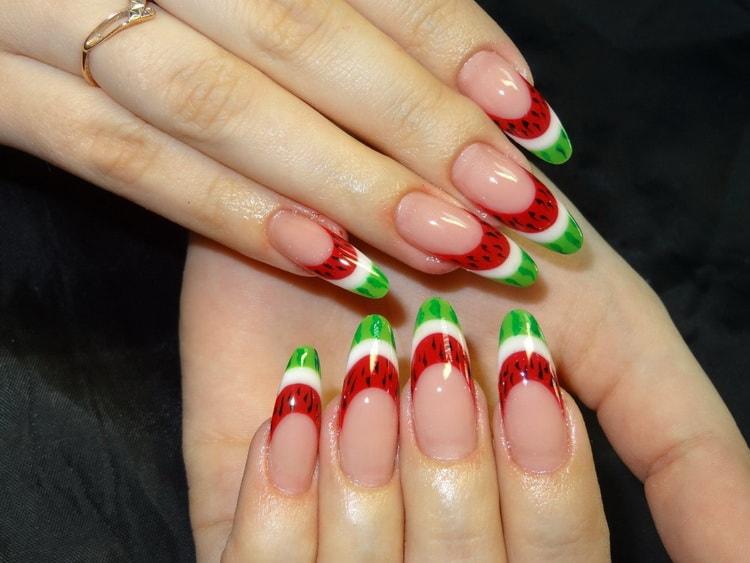Как сделать красный френч на ногтях миндалевидной формы