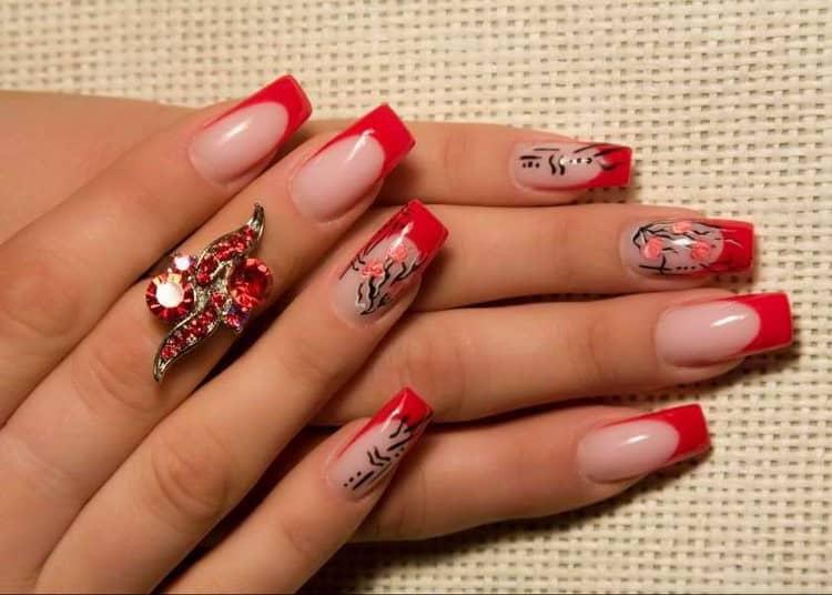 Как сделать красно черный френч на ногтях, фото