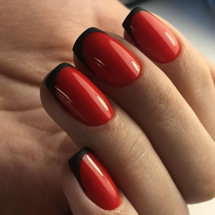 Как сделать дизайн ногтей красный френч с рисунком, фото