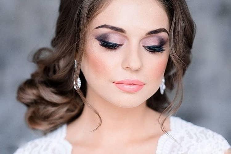 Как сделать свадебный макияж под карие глаза и темные волосы