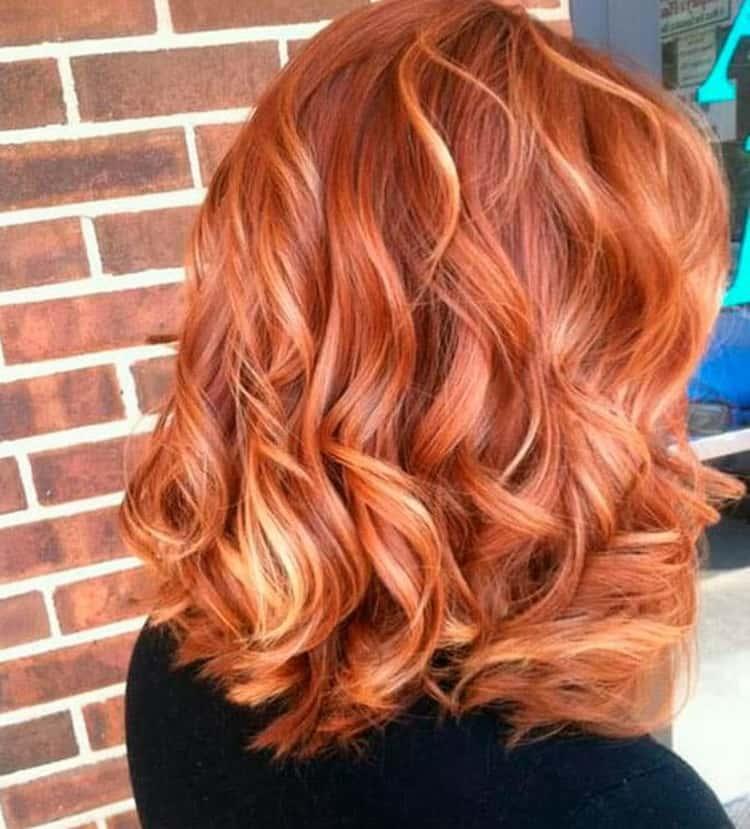 Рыжее мелирование на светлые волосы: фото