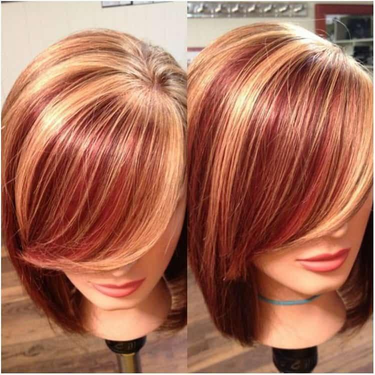 Мелирование на рыжие волосы с челкой: фото