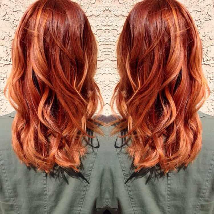Мелирование рыжих волос: фото до и после