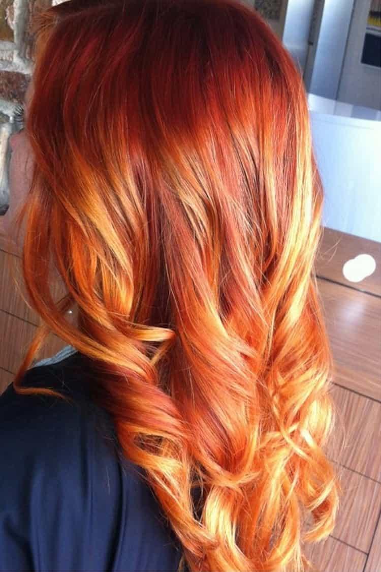 Белое мелирование на рыжие волосы: фото