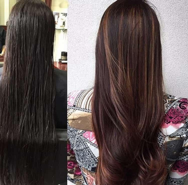 Мелирование темными прядями на темные волосы: фото