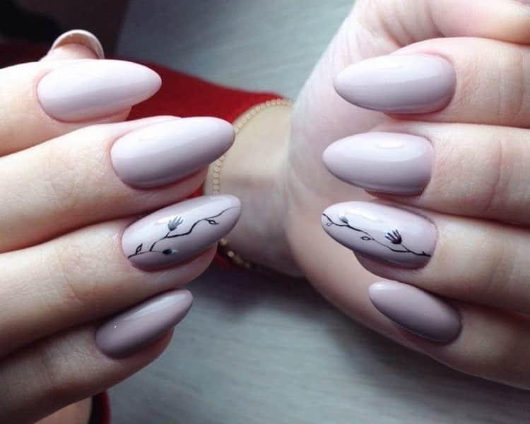 Простой дизайн ногтей для миндалевидной формы, фото