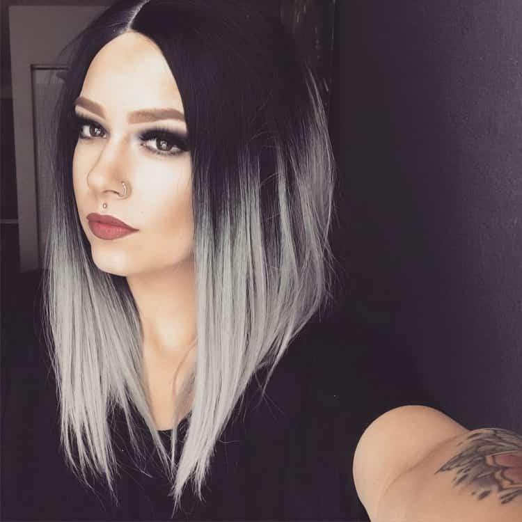 Цветное омбре на темные волосы средней длины