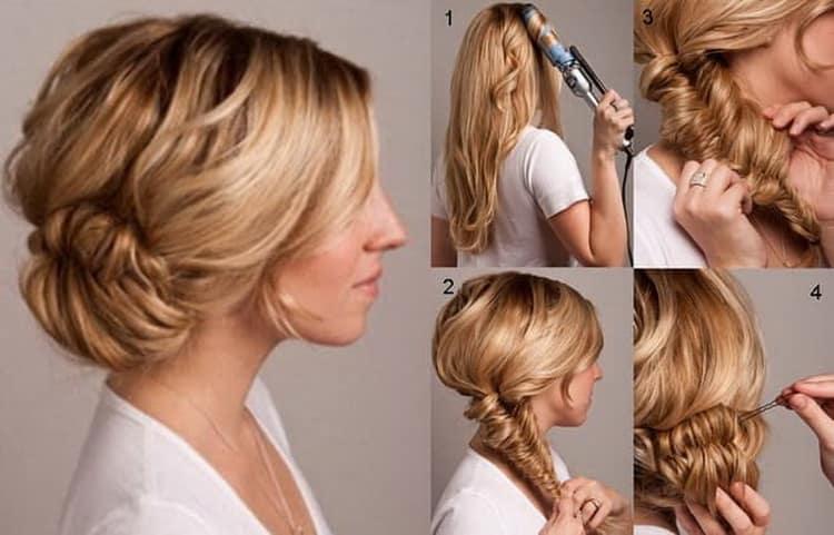 Как делается прическа с французской косой на средние волосы