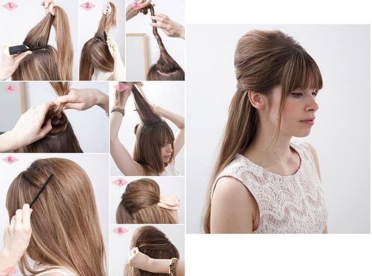 Как делается прическа на скорую руку на длинные волосы