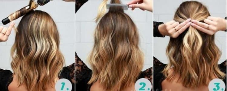 Как делается быстрая прическа на средние волосы своими руками