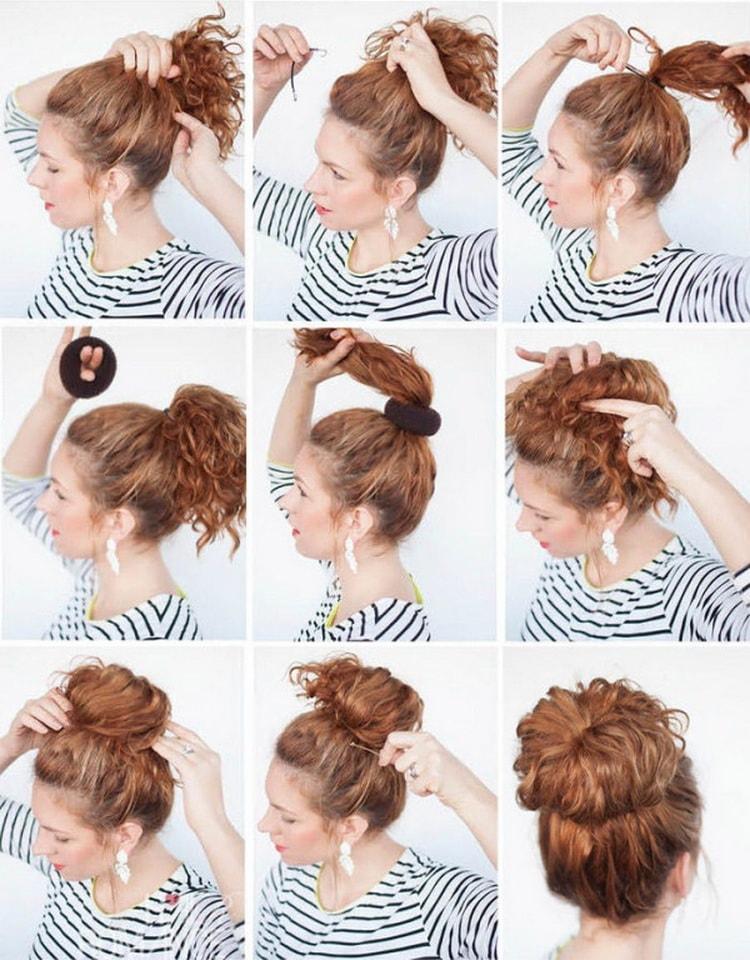 Как делается прическа пучок на средние волосы своими руками