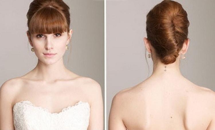 Как делать свадебные прически с косой челкой