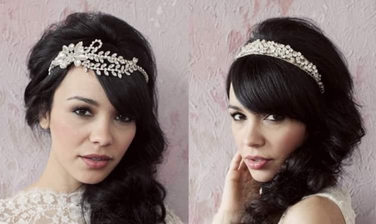 Как делать свадебные прически косы с челкой