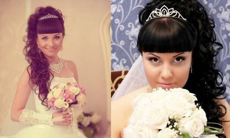 Как делаются свадебные прически с челкой и диадемой, фото