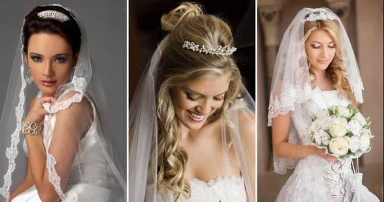 Как делаются свадебные прически с диадемой и фатой, фото