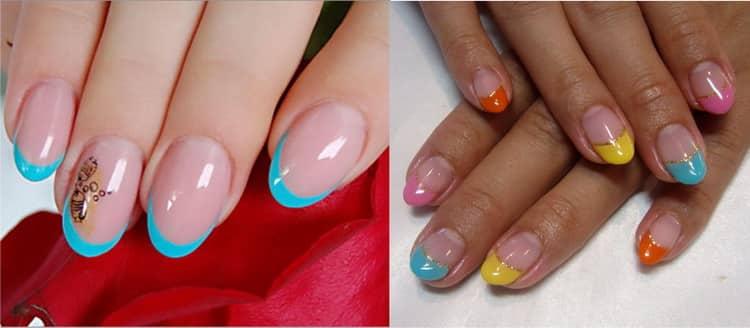Как сделать цветной френч на миндалевидных ногтях фото