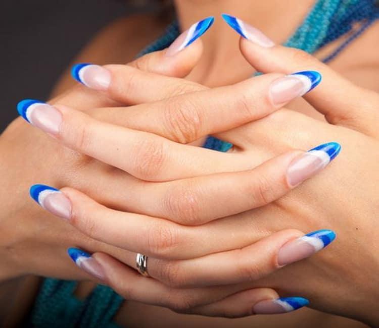 Как сделать цветной френч на острых ногтях