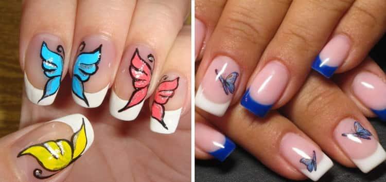 Как сделать цветной френч на мендалевидных ногтях