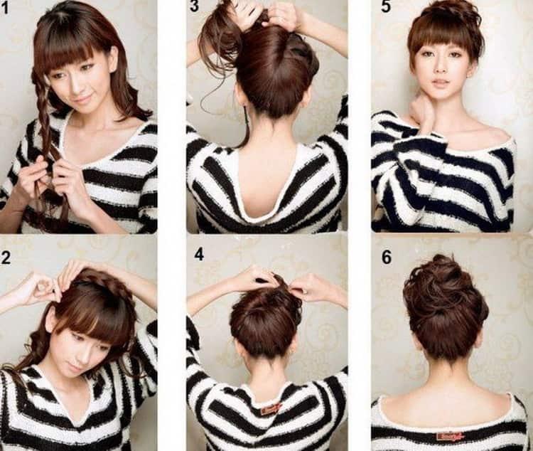 Как делаются высокие прически на средние волосы