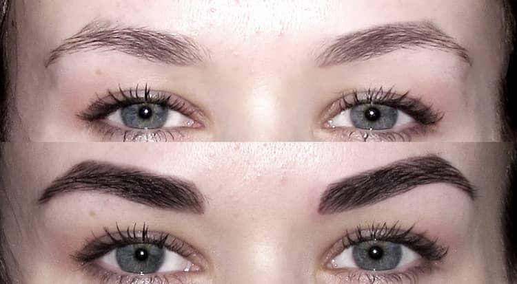 покраска бровей хной фото до и после