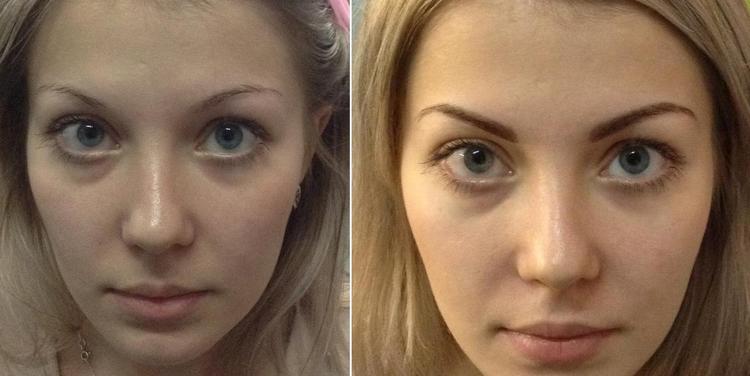 А вот фото до и после биотатуажа бровей хной.