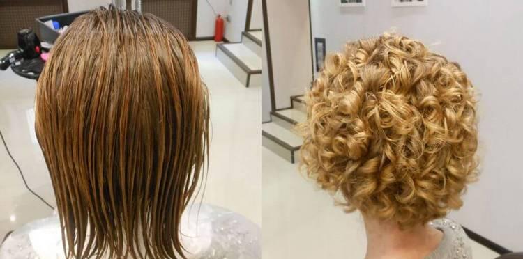 Посмотрите фото до и после биозавивки коротких волос.