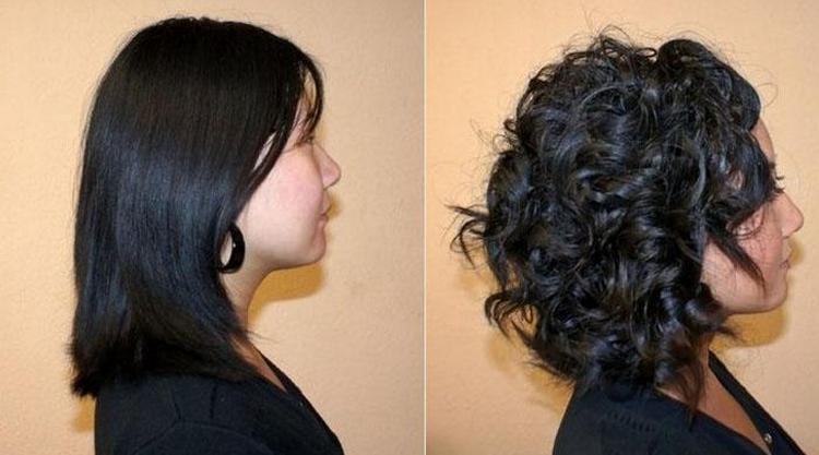 А вот фото биозавивки на средние волосы крупными локонами.