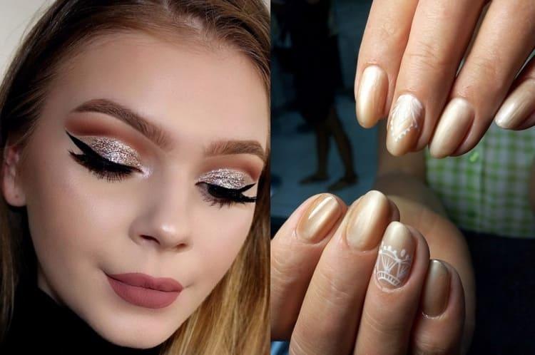 Можно сочетать такой дизайн также с блестками, не только на ногтях, но и на глазах.