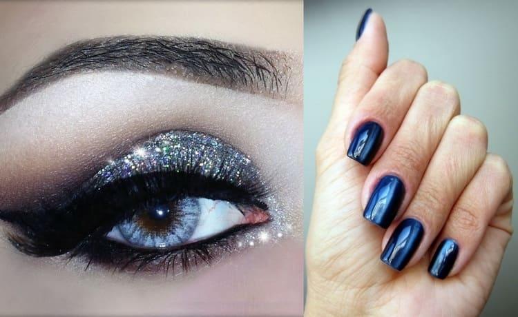 Стильно будут сочетаться блестящие синие тени и такой же гель-лак на ногтях.