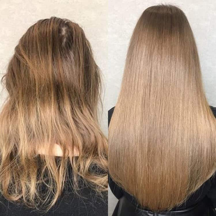 Посмотрите фото до и после голливудского наращивания волос.