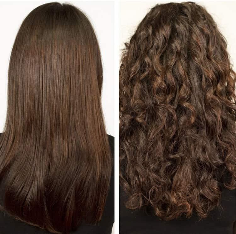 А так выглядит химическая завивка волос крупными локонами на длинные волосы.