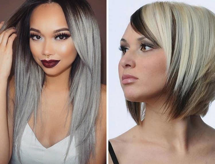 На фото вы видите, как можно покрасить волосы в два цвета.