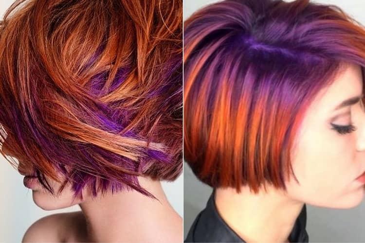 Посмотрите, как можно покрасить короткие волосы в два цвета.
