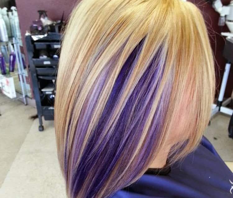 Стильный вариант окрашивания волос прядями.