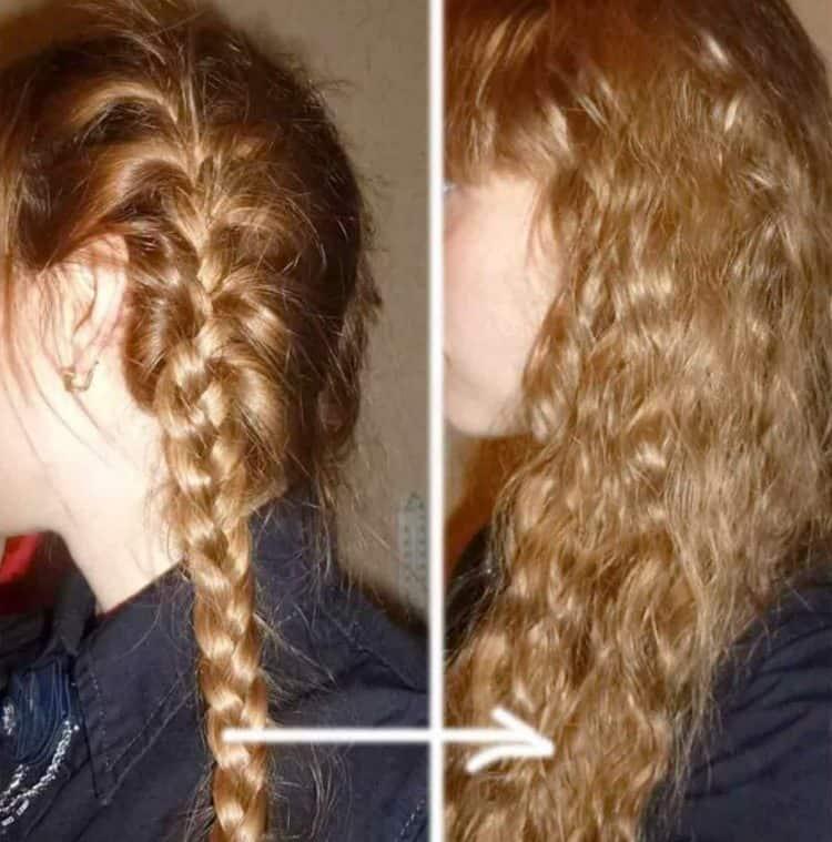 Еще один способ, как завить волосы без плойки и бигуди, это заплести косички, в идеале даже на ночь.