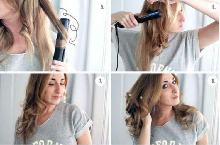 посмотрите, как накрутить локоны утюжком на средние волосы.