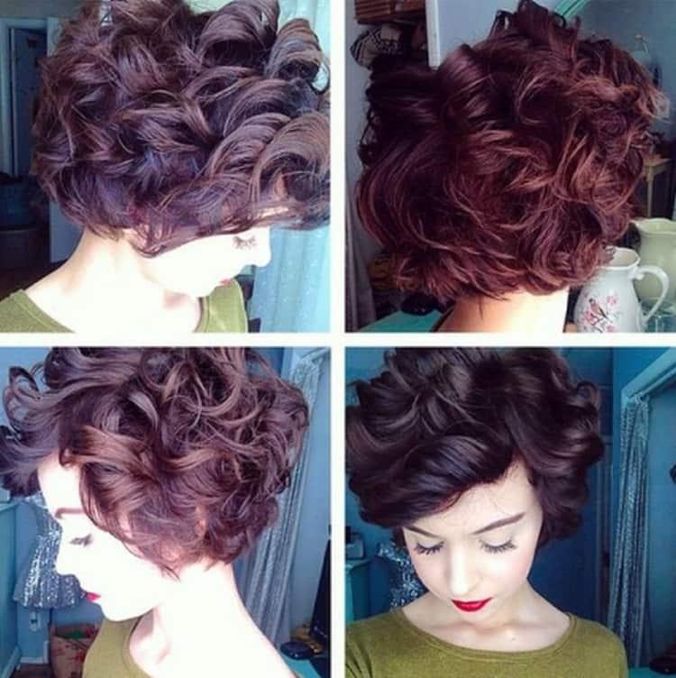 Вот такую красивую прическу можно сделать на коротких волосах при помощи бигудей.