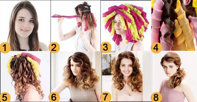 Посмотрите на фото, как правильно накручивать волосы на бигуди.