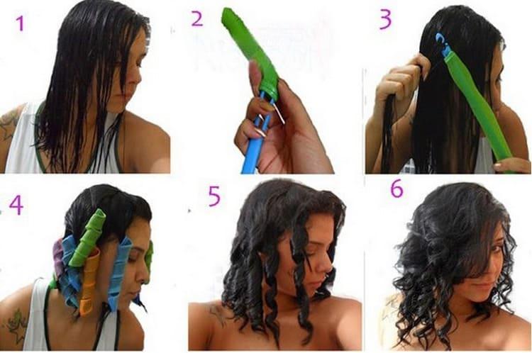 Посмотрите, как правильно накрутить волосы на бигуди-спиральки.