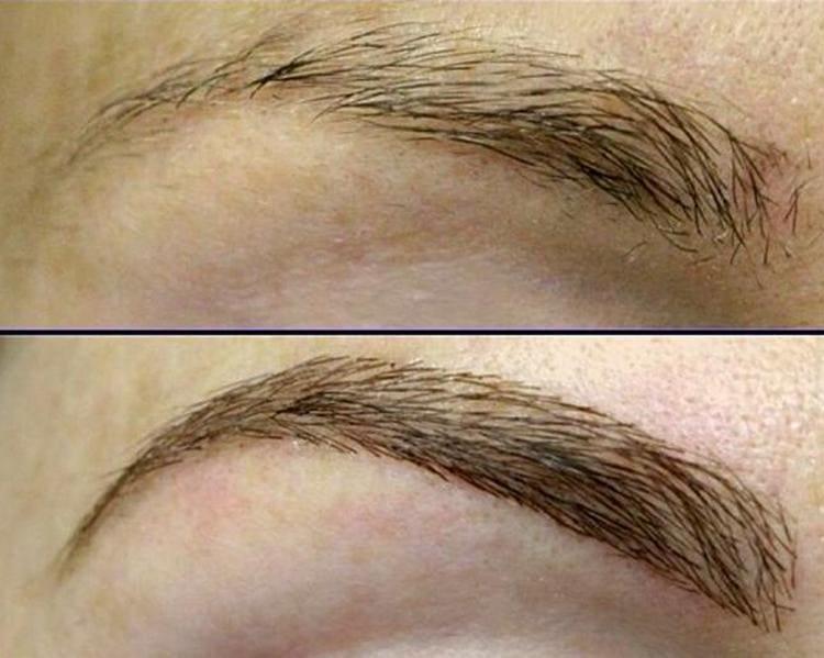 Наращивание бровей до и после.