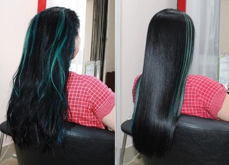 Молниеносный эффект дает, конечно же, кератиновое выравнивание волос в салоне.