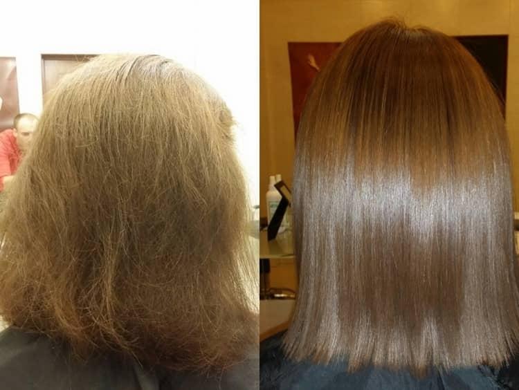 Хороший результат дает также американское выпрямление волос кератином.