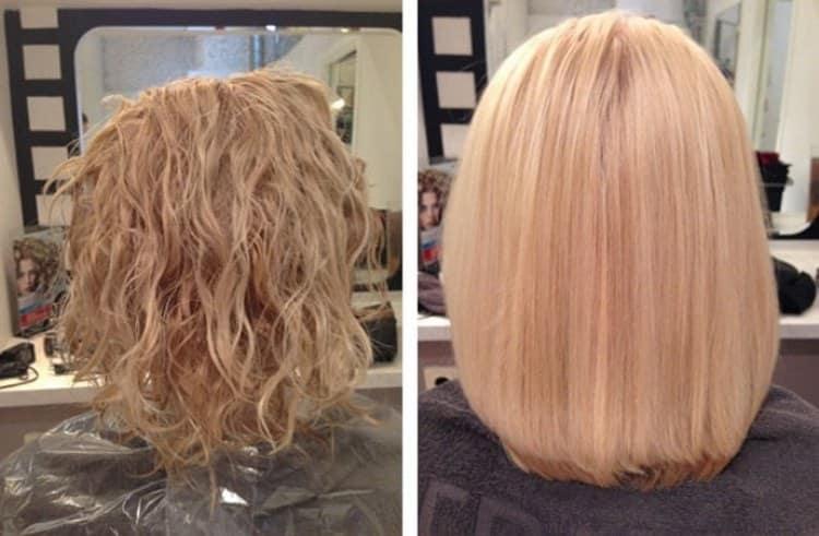 Обратилась в салон для выпрямления волос.