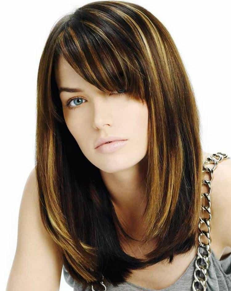 Посмотрите фото колорирования на темные волосы средней длины.