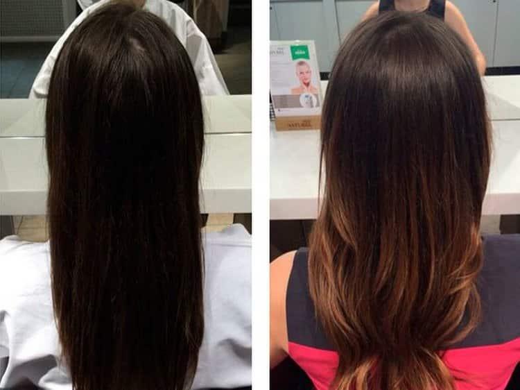 Посмотрите на фото варианты колорирования волос на темные волосы.