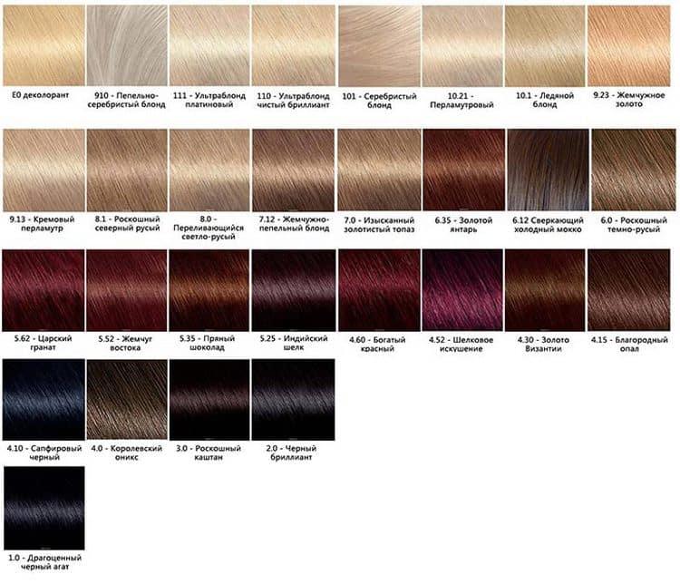 В этой палитре краски для волос Гарньер есть и блонды.