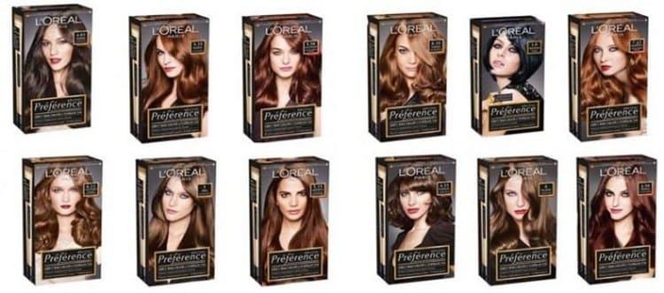 На фото показана палитра цветов краски для волос Лореаль преферанс.